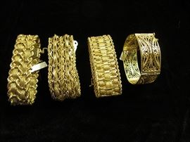Collection of 14Kt gold bracelets, each over an ounce