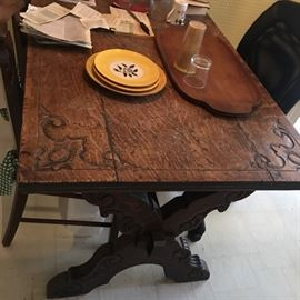 Farm Table - Beautiful Carved Antique Table