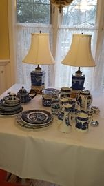 Blue Transfer China & Lamps
