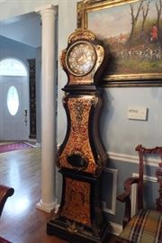 Boulle Longcase Clock - Gilt Bronze Ormolu Italy Enamel dial  -  Italian Marquetry - signed & Rare   Franz Hermle Germany Clock - Italy d Art.   Previously owned by the Kennedy family  (receipt in clock).    $10,000.    Firm