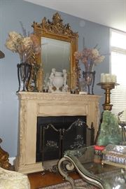 Gilded mirror $650. Theodore Alexander Pair of Vases $400. Fireplace Screen $100.