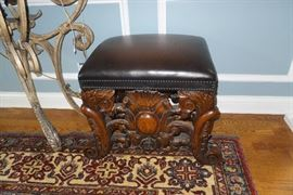 Carved solid wood Leather top    Piano Stool or Bench very heavy. $ 550.