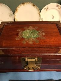 Wood and Jade Chinese Jewelry Box