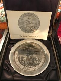 Solid Sterling Silver Danbury Mint Boston Tea Party Plate
