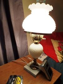 Hobnail lamp, one of pair