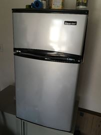 small stainless steel refrigerator/freezer