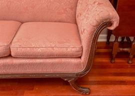 Antique 3-Seat Upholstered Parlor Sofa
