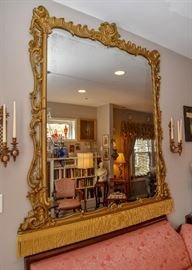 ENORMOUS Ornate Gilt Wall Mirror with Gold Fringe Detail, A BOLD STATEMENT PIECE!