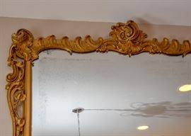 ENORMOUS Ornate Gilt Wall Mirror with Gold Fringe Detail