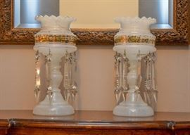 Vintage White Glass Candle Lamps with Prisms (Gilt Detail)