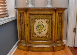 Vintage Painted Console / Entry Cabinet (Yellow Rose Detail)