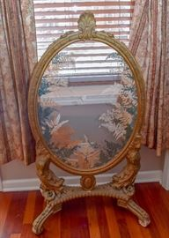 Antique Oval Glass Taxidermy Butterfly & Pressed Fern Fireplace Screen