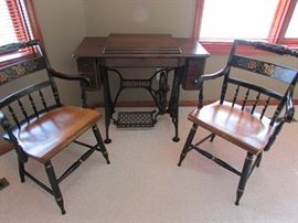 2 Hitchcock Chairs in near perfect condition and Singer Sewing Machine