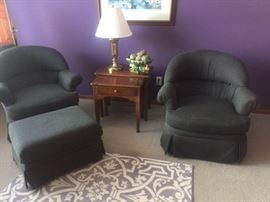 2 Swivel Club Chairs & Ottoman
