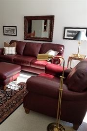 Burgundy leather Sofa, Loveseat, Chair & Ottoman with nailhead