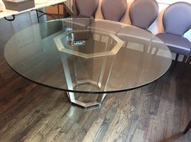 """Fair Park"" Dining Table base in brushed metal/ 60"" Glass top 3/4"" thick with flat polished edge 60"" Diam x 30"" H"