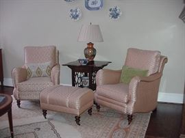Beautiful upholstered club chairs with one ottoman; matching Chinese Chippendale mahogany table (previous picture)