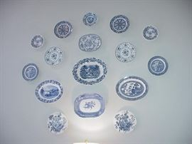 Spectacular collection of blue and white transferware plates