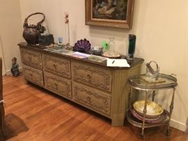 Dining room credenza (Items on top of credenza & tea cart not for sale)