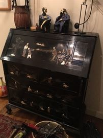 Antique Asian lacquer & inlaid chest / secretary (Objects on top not for sale)