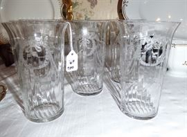 Antique crystal tumblers with wreath etching