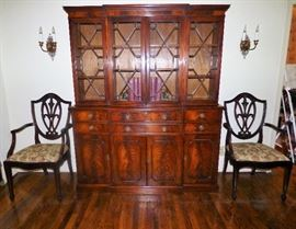 English Mahogany Antique Secretary/Bookcase, 2 antique shield-back chairs