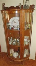 Antique Curio Cabinet With Hand Blown Glass