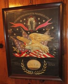 The Great White Fleet Silk Remembrance circa 1907-1909 in Honor Of The Us Great White Fleet Framed.