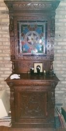 Stunning Antique English HUNT cabinet with lighted STAINED GLASS