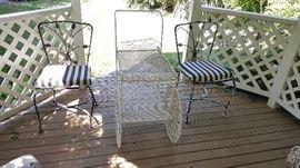 Tea Cart & Pair Iron Chairs