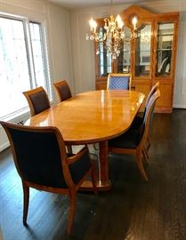 Hickory White modern neo-classical table, eight chairs (two not shown) and breakfront.  Lovely inlay.
