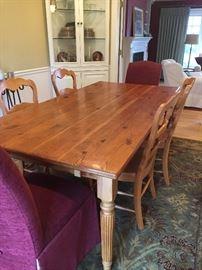 "Mig & Tig custom pine table with (2) 22"" leaves"