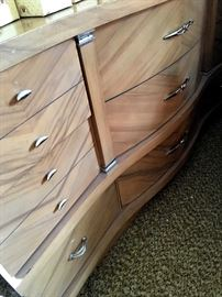 Really Cool Blonde dresser w/Mirror...There's Also 2 Matching Nightstands...and A Full Size Bed!...