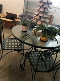 Out In the Garage...Sorry No Tools...But We Do have Some Nice Patio Furniture Like This Iron/Glass Table and Chairs...