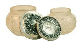 Sterling and Glass Powder Jars