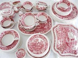 RED & WHITE SPODE CHINA SET