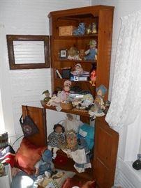 Vintage Corner Cabinet, Dolls & Toys