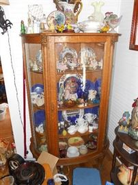 Antique Bow Front Cabinet, Depression Glass, Hummels, Figurines, China