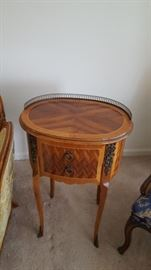 1 of 2 Ornate Inlaid Side Tables