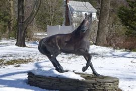 Trotting Horse by P. V. Mena.  Bronze statuary - lost wax casting - suitable for indoor or outdoor. Includes stacking stones that create platform.