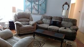 Recliners and sofa all have heated seats with massage
