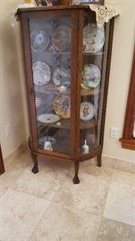 Antique curved glass Oak cabinet