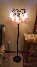 Glass tulip iron floor lamp
