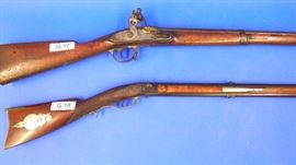 (G.17) Virginia Manufactory Richmond 1816, reconverted to Flintlock Rifle  (G.18) Unmarked American Swivel Breach Rifle, with Silver Sporting Inlays