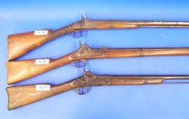 "(G.19) Renkin  Brothers Liege Double Barrel Shotgun. Marked ""Fine Laminated Steel Barrel"", (G.20) Savage Fire Arms Co. 1863 Artillery Musket, Middleton Conn, (G.21) Unmarked American Musket, walnut stock"