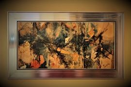 VINTAGE SONIA RISOLIA SIGNED ABSTRACT ART PAINTING