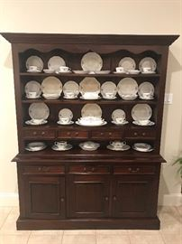 Beautiful Dining Room China Hutch with a complete set of French China Company Martha Washington China.
