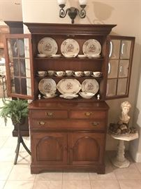 "Vintage Pennsylvania House China Cabinet with Portland Federal Floral Syracuse China, and a bust model of David Michelangelo made by ""Silvestri Bros Corp."" by 1960's. The bust measures approximately 15 1/2 inches high Total & 6"" across bae is 5""x5""x 4"" high"