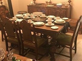 1920's - 1930's Jacobean Revival Dining Table with Chairs & Buffet