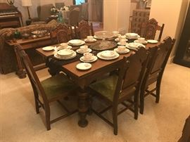 1920's - 1930's Jacobean Revival Dining Table with Chairs